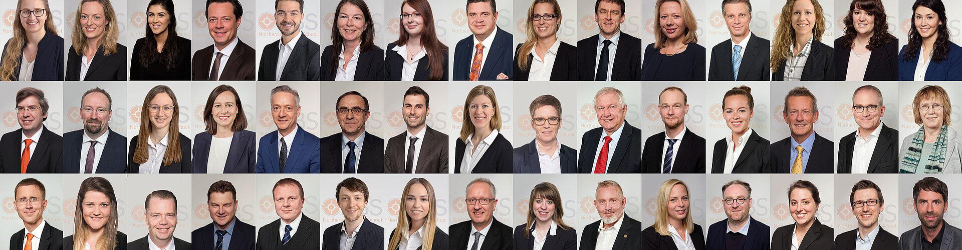 Das Team der NBS: Professoren und Verwaltung