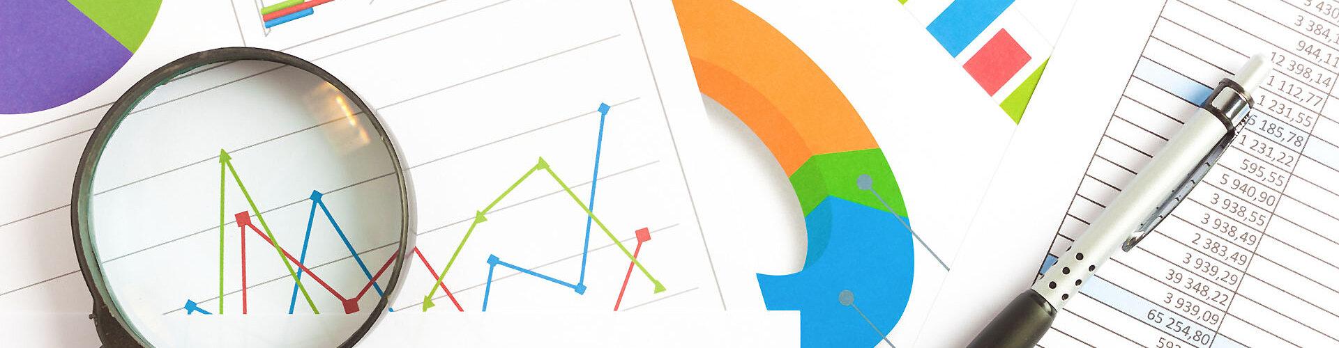 Diagramme und Tabellen zur Illustration von Marketing