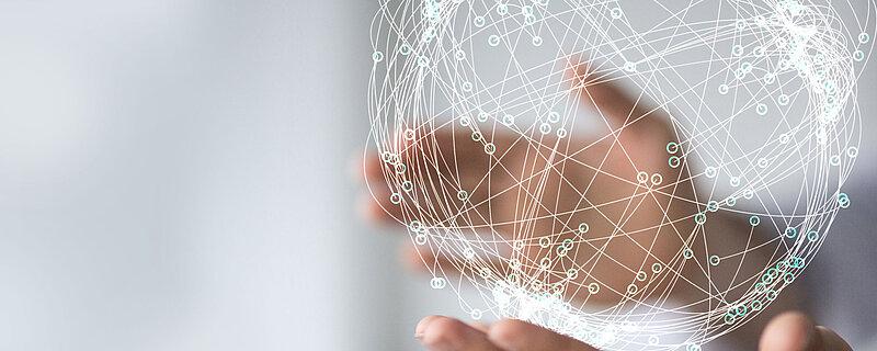 Globus aus vielen miteinander verbundenen Punkten zur Darstellung von Internationalität